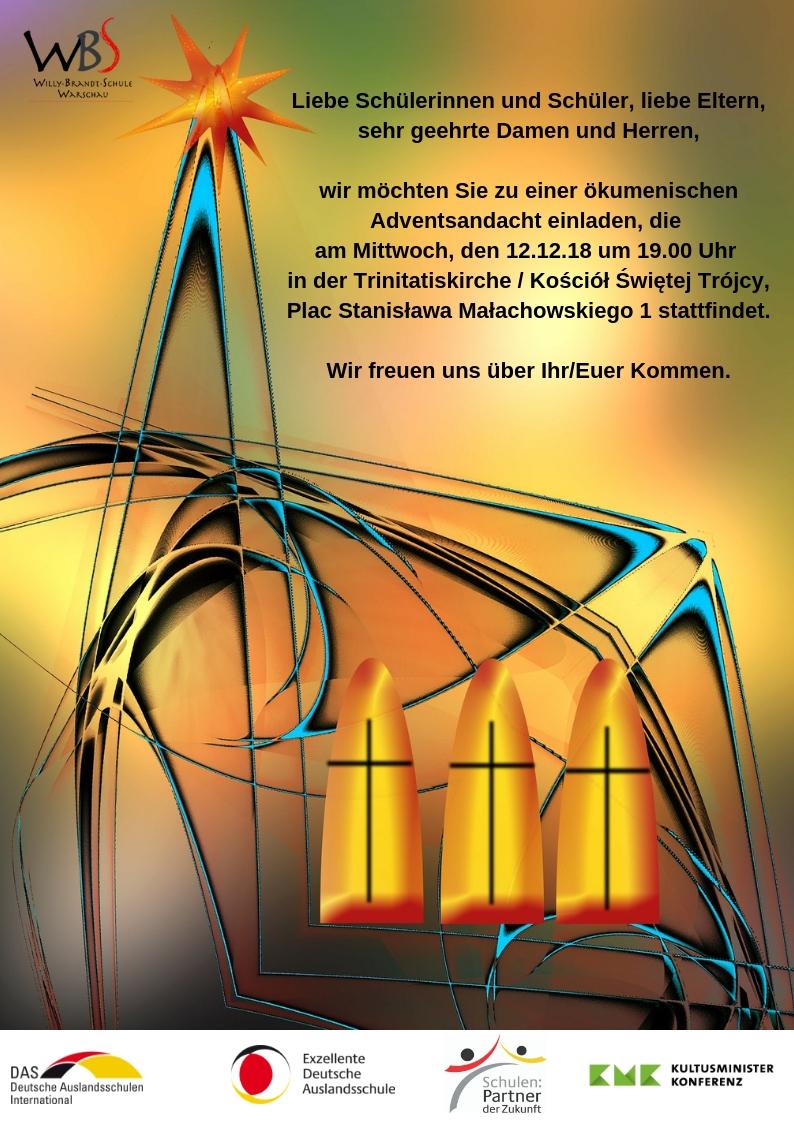 Einladung zur ökumenischen Adventsandacht am 12.12.2018 um 19 Uhr in der evangelischen Trinitatiskirche zu Warschau