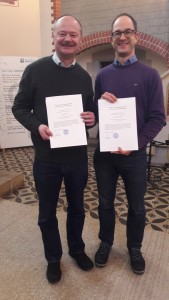 Jürgen Wandel und Simon von Kleist nach der Verleihung Ihrer Prädikantenurkunden in der Christophori-Kirche in Hannover